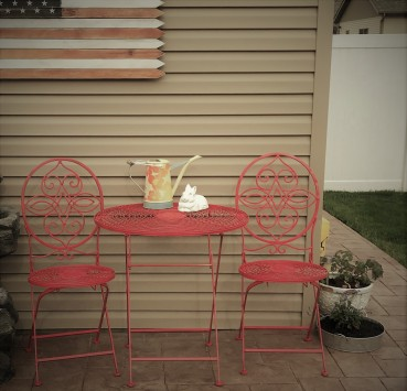 Some poppy colored paint is just right touch for this bistro set.